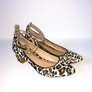 PILCRO Leopard Dovecote Ankle Strap Midi Heels Sz8